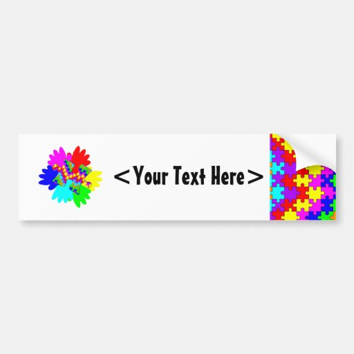 Customizable Hands And Puzzling Puzzle Piece Car Bumper Sticker