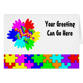 Customizable Hands And Puzzling Puzzle Piece Greeting Card