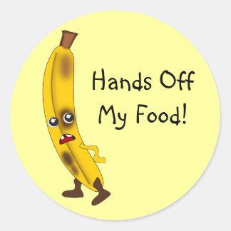 "Customizable ""Hands Off My Food"" Banana Classic Round Sticker"
