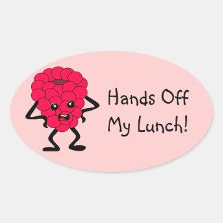 "Customizable ""Hands Off My Lunch"" Raspberry Oval Sticker"
