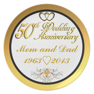 Customizable Happy 5oth Anniversary Mom & Dad Dinner Plate