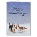 Customizable Happy Howlidays Basset Hound Dogs Car Card