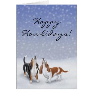 Customizable Happy Howlidays Basset Hound Dogs Car Greeting Card