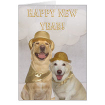 Customizable Happy New Year Lab/Dogs Card