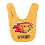 Hand shaped Customizable Happy Red Monkey Baby Bib