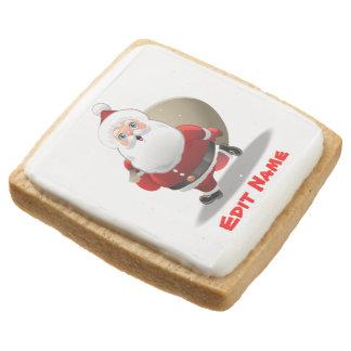Customizable Happy Santa Claus Cartoon Square Shortbread Cookie