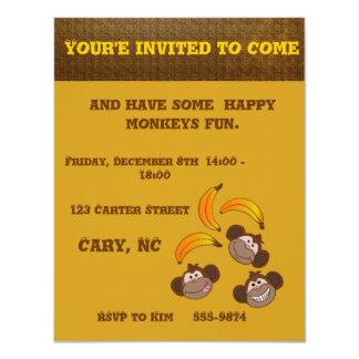 Customizable happy smiling monkeys and bananas card
