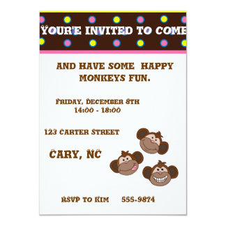 Customizable happy smiling monkeys card