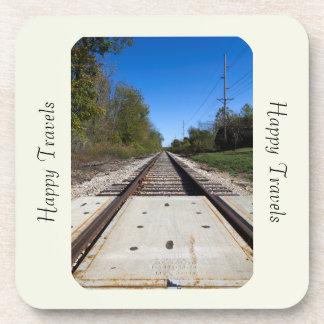 Customizable Happy Travels Train Track Photo Drink Coaster