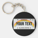 (Customizable) Hawaiian License Plate Basic Round Button Keychain