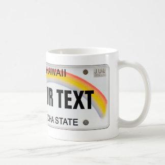 Customizable Hawaiian License Plate Coffee Mugs