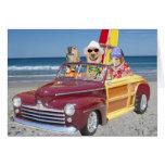 Customizable Hawaiian Surfer Dogs/Labs Cards
