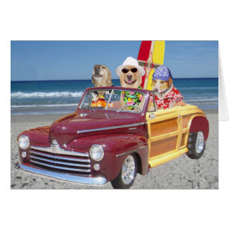 Customizable Hawaiian Surfer Dogs/Labs Greeting Card