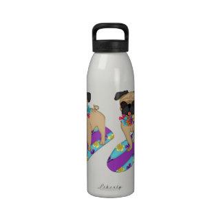 Customizable Hawaiian Surfer Pug Tees and Gifts Water Bottles