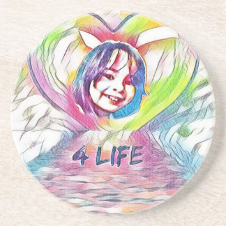 Customizable Heart And 4 Life Digital Drawing Drink Coaster