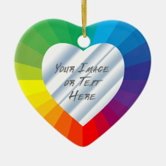 Customizable Heart Frame: Spectrum Collection Ceramic Ornament