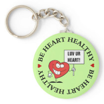 Customizable Heart Healthy Slogan Sign Keychain