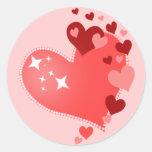 Customizable Hearts Classic Round Sticker