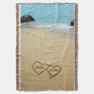 Customizable hearts in the sand blanket