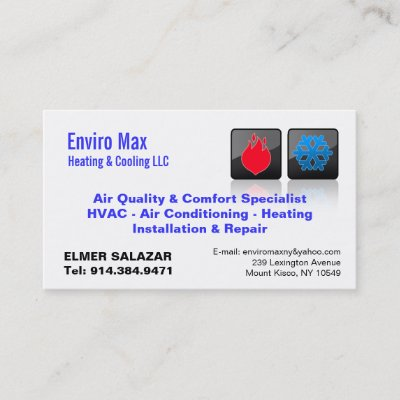 Customizable heating cooling thermo business card zazzle reheart Image collections
