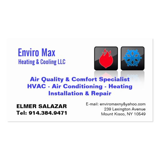 Customizable heating cooling bc business cards zazzle for Hvac business card template