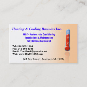 Heating business cards templates zazzle customizable heating cooling thermo business card colourmoves