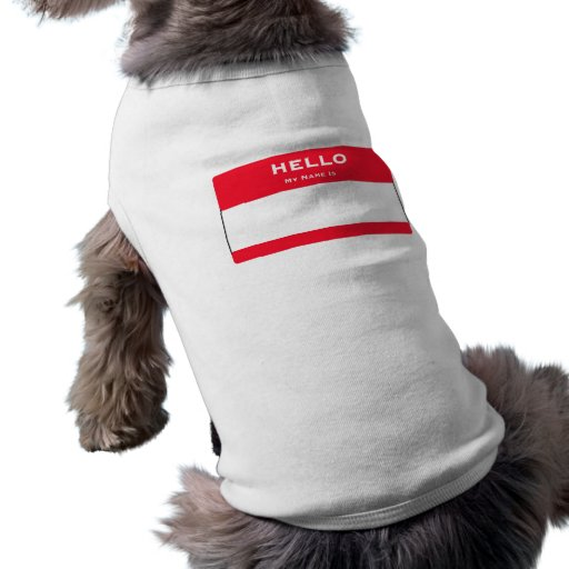 Customizable Hello My Name Is Dog Tank Top Pet Clothing