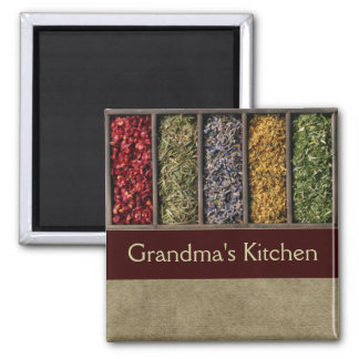 Customizable herbs and spices kitchen magnet