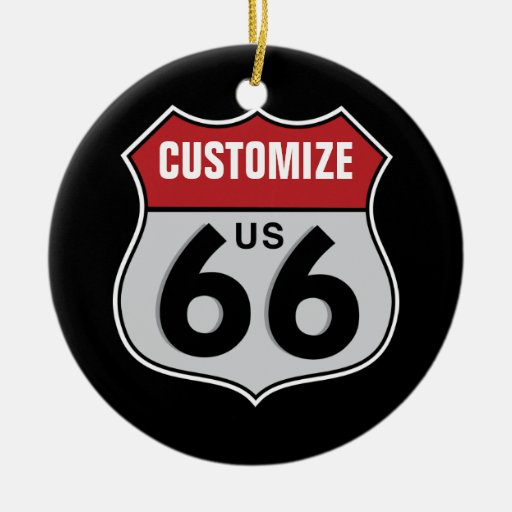 Customizable Highway 66 Double-Sided Ceramic Round Christmas Ornament