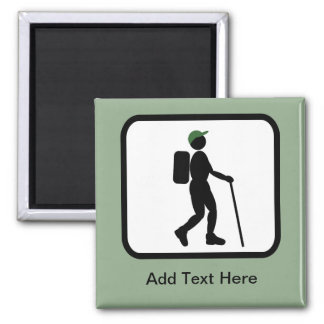 Customizable Hiker Logo 2 Inch Square Magnet
