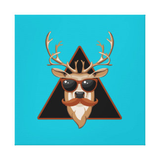 Customizable Hipster Mustache Deer Art Canvas Print