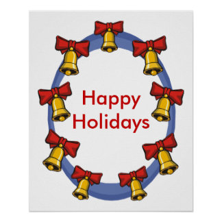 Customizable Holiday Bell border Poster - Nice