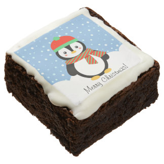 Customizable Holiday Penguin Brownie