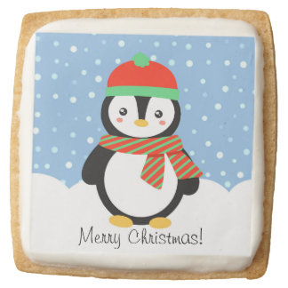 Customizable Holiday Penguin Square Shortbread Cookie