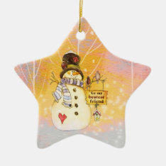 Customizable Holidays - Snowman In A Star Ornament at Zazzle