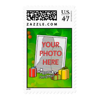 Customizable Holly and Boxes Christmas Photo Postage