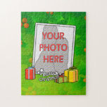 Customizable Holly and Boxes Christmas Photo Jigsaw Puzzles