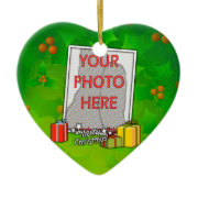 Customizable Holly &boxes Christmas photo Ornament ornament