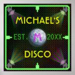 Customizable Home Bar 1970's Disco Ball Poster