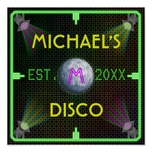 Customizable Home Bar 1970's Disco Ball Posters