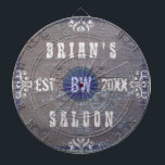 "Customizable Home Bar Beer Saloon Dartboard<br><div class=""desc"">Create your own country western style (rustic American wild west) home bar dart board using this easy, diy template. Made to look like old wood with plenty of vintage flourishes in shades of white, gray and blue, this dart board can be personalized with your own name, initials / monogram and...</div>"