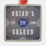 Customizable Home Bar Beer Saloon Square Metal Christmas Ornament