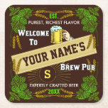 "Customizable Home Bar Brewpub Beer Brewery Square Paper Coaster<br><div class=""desc"">Create your own custom home bar brewpub paper coasters using this original template design. These beer coasters are edged in an ornate hops and barley border, along with a beer mug graphic, a star burst effect and a central banner. The coasters say, &quot;Welcome to [your name]&#39;s Brew Pub.&quot; Then there&#39;s...</div>"