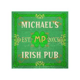 Customizable Home Bar: Green Irish Pub Wood Print