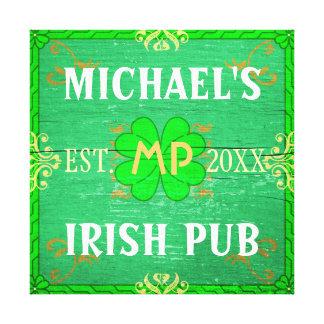 Customizable Home Bar Irish Pub Green Canvas Print