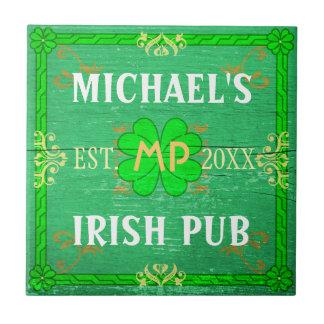 Customizable Home Bar Irish Pub Green Ceramic Tile