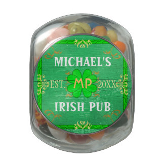 Customizable Home Bar Irish Pub Green Jelly Belly Candy Jars