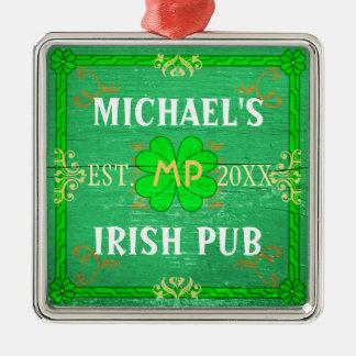 Customizable Home Bar Irish Pub Green Square Metal Christmas Ornament