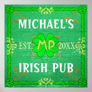 Customizable Home Bar Irish Pub Green Print