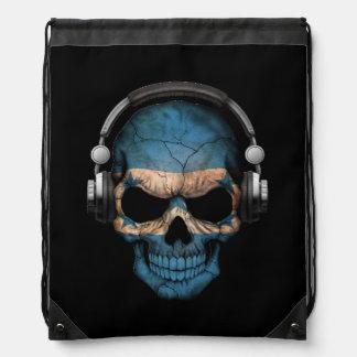 Customizable Honduras Dj Skull with Headphones Drawstring Backpack